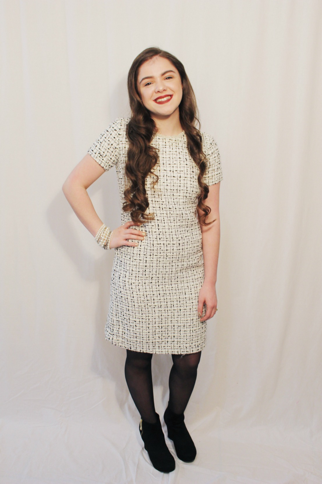 Holiday 2016 crowned with love here i paired a simple tweed dress with a pair of opaque black stockings and some wedge booties accessory wise i just threw on a whole arm party of pearls ombrellifo Gallery